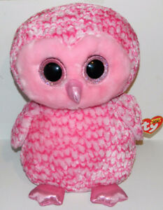 "Ty Beanie Boos Large 17"" Pink Barn Owl Pinky New With Tags"