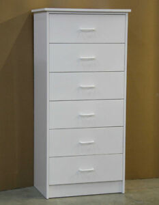 White 6 Drawer Tall Dresser Chest **Brand New**