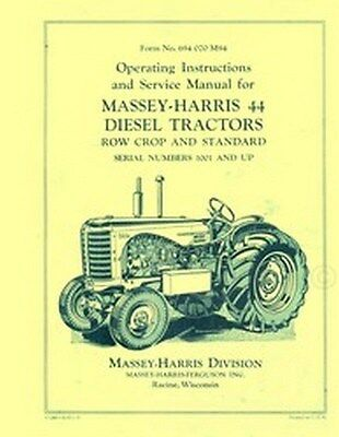 Massey Harris 44 Diesel Service Operators Manual 1001