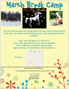 March Break Camp For Kids @ Fire Fly Stables Kitchener / Waterloo Kitchener Area image 1