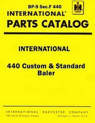 International 440 Custom And Standard Twine Wire Baler Parts Catalog Manual