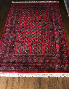 "Red Persian Heriz Tabriz Rug Carpet 6'7"" x 9'6"" Mid Century"