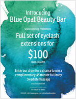 Full set of eyelash extensions for $100 taxes included