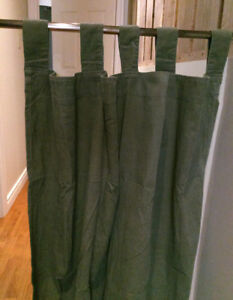 2 Olive green tab curtains with rods