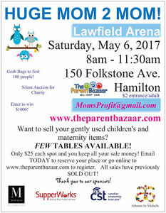 MOM TO MOM SALE - only 5 tables left!!