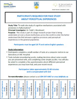 Participants wanted for $PAID$ research study on perception!