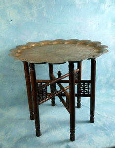 Carved Teak Folding Anglo-Indian Wine Coffee TABLE brass LARGE E