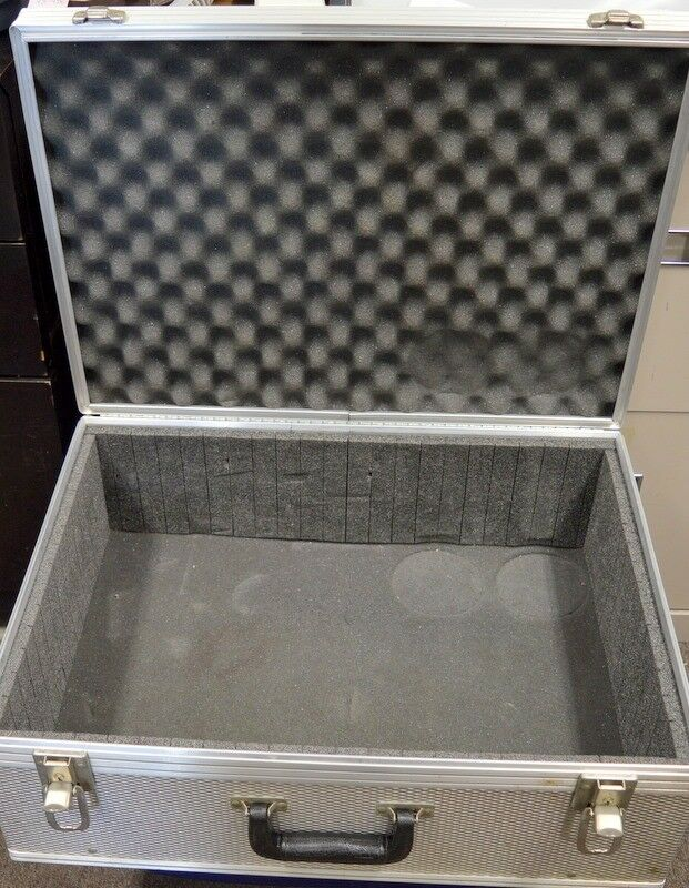 Aluminum Equip.Box, Foam lined, Hinged Closure, 2 lock downs in front 22 x16x9 D