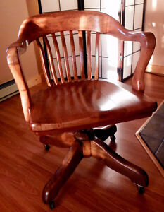 Antique wood rolling swivel seat bankers lawyers office