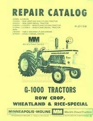 Minneapolis Moline G-1000 G1000 Row Crop Wheatland Rice Tractor Parts Manual