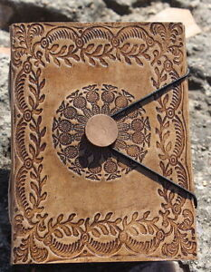 Genuine Leather Book of Shadows Blank Paper Journal Notebook Wicca Diary 8X7'' M