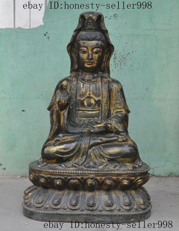 """22""""old Chinese Buddhism Bronze Gilt Kwan-yin Guanyin Bodhisattva Buddha Statue"""