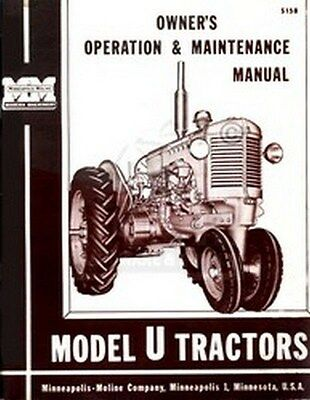 Minneapolis Moline Model U Tractor Operator Manual