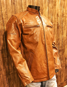 Men's 100% Real Leather Jacket Slim Fit Genuine Handmade Jacket