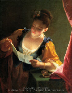 """R. Raoux """"Young Girl Reading a Letter"""" Antique Wall Art & Frame"""