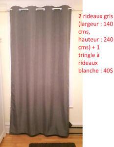 Vends 3 paires de rideaux (bleu marine, noir et gris/marron)