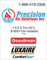 Air Conditioners From $1800+Tax Installed