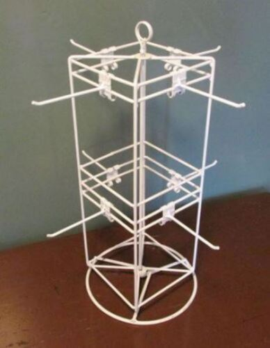 """Counter Top Spinner Display Rack - 4 Sided 8 Peg 6"""" x 6"""" (White)"""