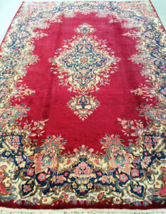Semi-Antique persian rug,wool,Hand made,10 x 6.9 ft,red,gold