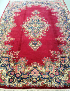 VINTAGE HANDMADE PERSIAN Rug,10 x 6.9 ft,wool,red carpet