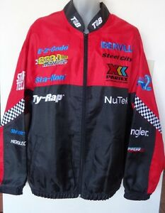 MENS PROMO RACING JACKET MOSPORT PROFORMANCE 46 48 50 NEW LOGOS RACE CAR ZIP SPRING RED BLACK MINT QUALITY