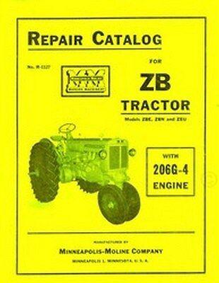 Minneapolis Moline Zb Zbe Zbn Zbu 206g-4 Engine Tractor Parts Manual