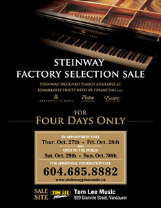 Steinway Factory Selection Sale Oct 27th-30th 2016 in Vancouver