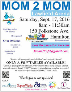 Some parent tables left at our HUGE mom to mom sale!