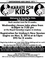 Lindsay Registration Karate for Kids for 6 to 14 years