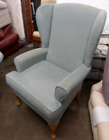 Armchair - Quality Extra Comfy HSL Greenish Blue Fabric Armchair. It n