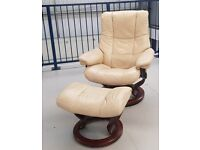 Ekornes Stressless swivel recliner leather chair and foot stool Cream