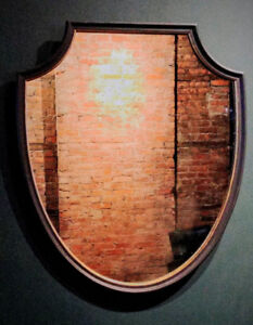 Large Vintage Shield-Shaped Wall Mirror with Wood Frame