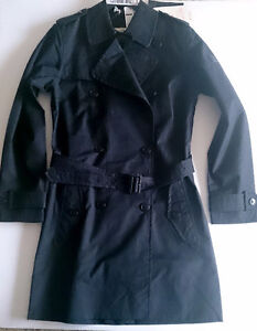 New $498 Aigle Trench Coat Jacket Black Size 40