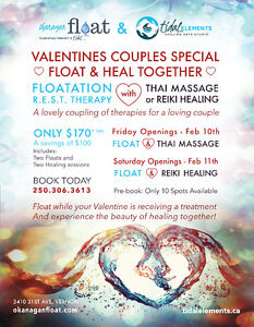 Valenties Special - Float Therapy with Thai Massage or Reiki