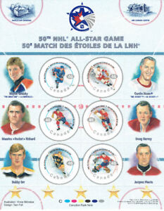 Bloc - feuillet canadien  50th NHL  ALL - STAR GAME.