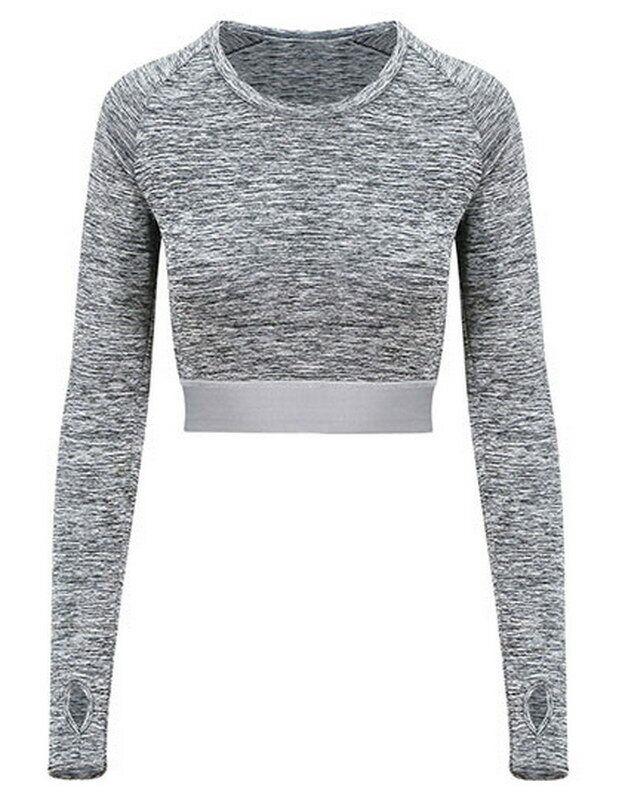 Just Cool Girlie Long Sleeve Crop T Langarm Damen Sport Fitness Shirt Bauchfrei