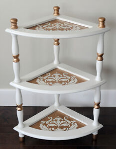 White & Gold Stenciled Corner Table