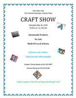 Army and Navy Club Craft Show - Carleton Place MAY 26th