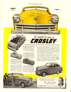 Large (10 ½  by 13 ½ ) 1949 full-page ad for Crosley Automobiles