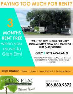 Glen Elm Lot for Rent - FREE RENT!
