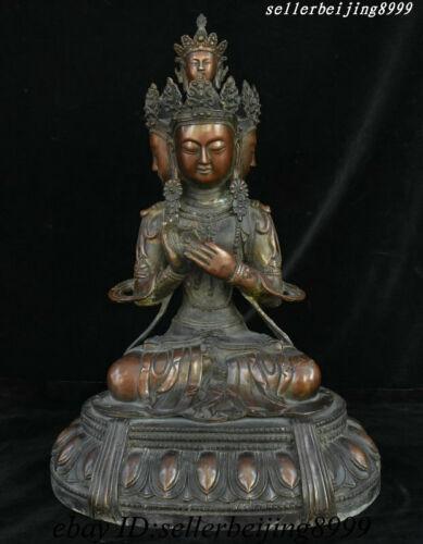 "19"" Old Tibet Bronze 4 Face Buddha Kwan-Yin Avalokiteshvara Boddhisattva Statue"