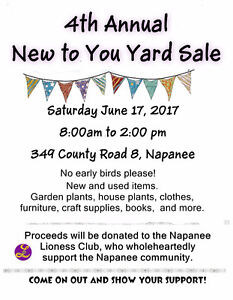 Napanee Lioness 4th Annual New to You Yard Sale