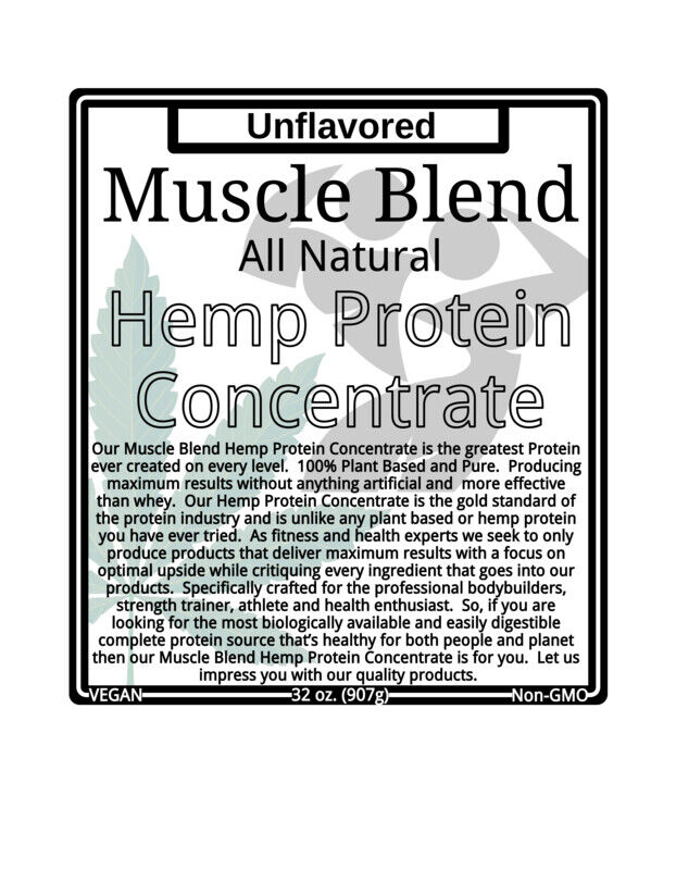 Muscle Blend RAW Hemp Protein 70% Concentrate, 32 oz, Plain, Non-GMO, USA 1