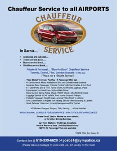 Chauffeur Service to all AIRPORTS.....from Sarnia