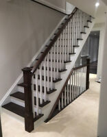 stairs and floor (hardwood,laminate,railing,sand and stain)