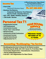 INCOME TAX CRA AUDIT OLD TAX RETURNS HST PAYROLL BUSINESS REGIST