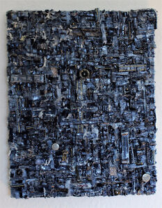 One-Of-A-Kind Denim Recycled Art Piece
