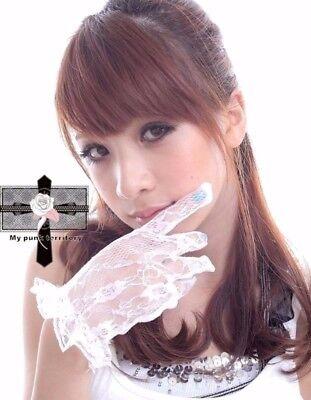 Gothic Lolita Snow White Wedding Frills Lace Ruffles Wrist Floral Lace - Snow White Gloves