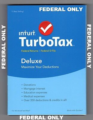 2015 Tax Year Intuit TurboTax Deluxe Federal ONLY Windows & Mac NEW Sealed