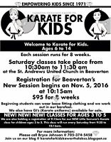 Beaverton Registration Karate for Kids for 6 to 14 years